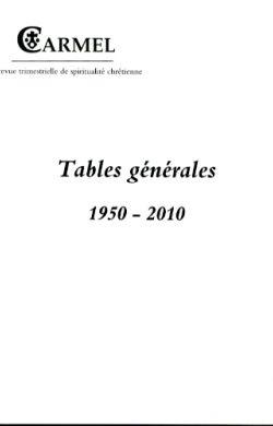 Tables générales 1950-2010
